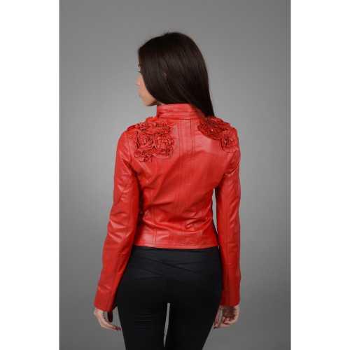 Женская модная красная кожаная куртка